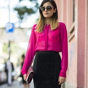 L'AGENCE Exclusive Sheer Silk Pink Fuchsia Top